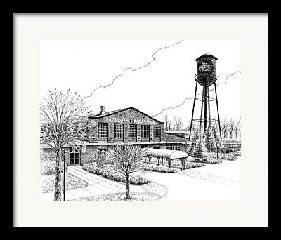Pen And Ink Drawing Of Franklin Tennessee Framed Prints