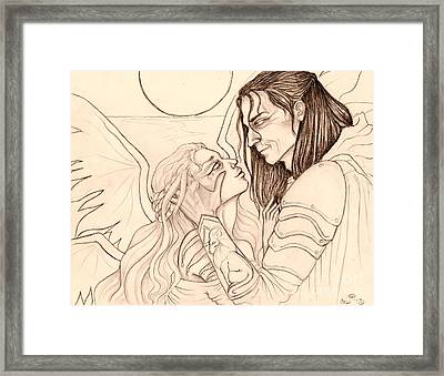 The Faery Maiden And The Knight Sketch Framed Print by Coriander  Shea