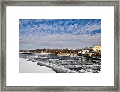 The Fairmount Waterworks And Boathouse Row  In Winter Framed Print by Bill Cannon