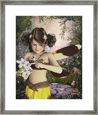 The Fairy And The Dragonfly Framed Print