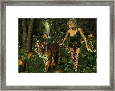 Framed Print featuring the digital art The Fairy And The Tiger by Jayne Wilson