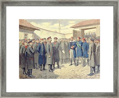 The Fall Of Plevna, The Wounded Osman-pashah Before Alexander II 1818-1881, 1880 Wc On Paper Framed Print by Aleksei Danilovich Kivshenko