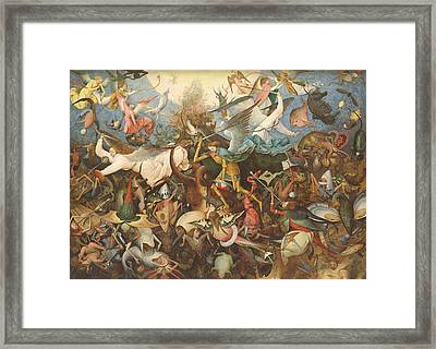 The Fall Of The Rebel Angels, 1562 Oil On Panel Framed Print