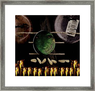 The Fallen Angel Watching The Mountain Of Evil Framed Print