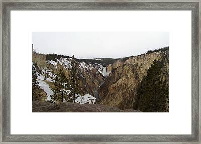 The Falls At Yellowstone Park Framed Print