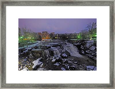 The Falls In Downtown Greenville Sc After A Light Snow Fall Framed Print by Willie Harper