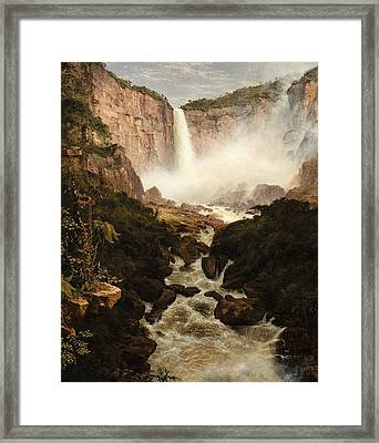The Falls Of The Tequendama Near Bogota, New Granada Framed Print by Frederic Edwin Church