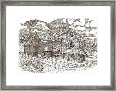 The Family Farm - Sepia Ink Framed Print by Carol Wisniewski