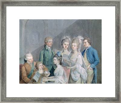 The Family Of Charles Schaw, 9th Baron Cathcart 1721-76 Pastel On Paper Framed Print by Johann Zoffany