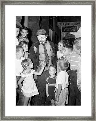 The Famous Clown Emmett Kelly 1956 Framed Print by Mountain Dreams