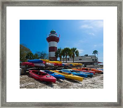The Famous Lighthouse At Harbourtown On Hilton Head Island Framed Print by Louise Heusinkveld