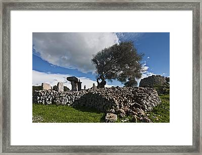 Talayotic Culture In Minorca Island - The Far Side Of The Word Stone Age Heritage Framed Print