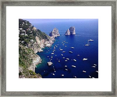 Framed Print featuring the photograph The Faraglioni Of Capri by Ze  Di