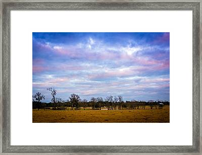 The Farm Before The Winter Storm  Framed Print