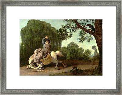 The Farmers Wife And The Raven The Farmers Wife Framed Print by Litz Collection