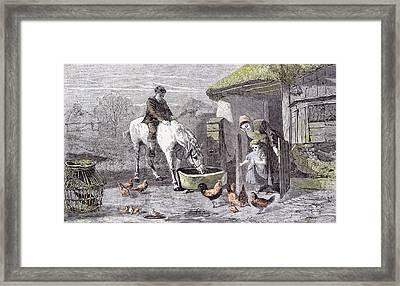 The Farmhouse Porch Walter Goodall Children Horse Chicken Framed Print by English School