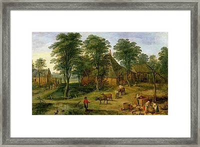 The Farmyard Framed Print by Jan the Younger Brueghel