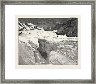 The Fatal Accident On Mont Blanc General View Of The Petit Framed Print by English School