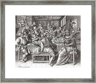 The Feast, After A 17th Century Engraving By N. De Bruyn.  From Illustrierte Sittengeschichte Vom Framed Print by Bridgeman Images