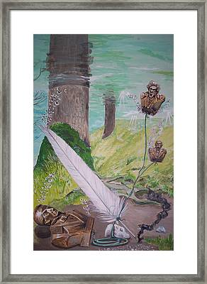 Framed Print featuring the painting The Feather And The Word La Pluma Y La Palabra by Lazaro Hurtado