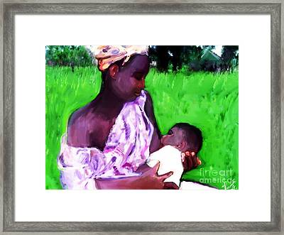 Framed Print featuring the painting The Feeding 2 by Vannetta Ferguson