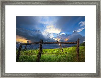 The Fence At Cades Cove Framed Print by Debra and Dave Vanderlaan