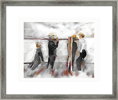 Framed Print featuring the painting The Fence Builders by Bob Salo