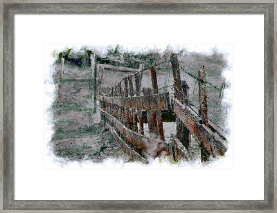 The Fence Down There Framed Print