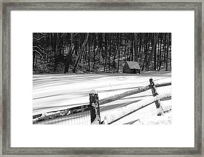 The Fence Line In Black And White Framed Print