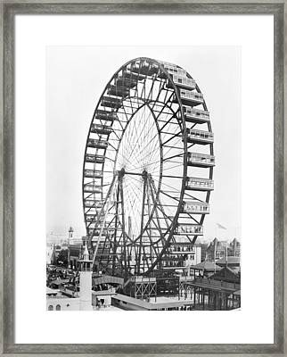 The Ferris Wheel At The Worlds Columbian Exposition Of 1893 In Chicago Bw Photo Framed Print