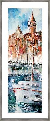 Framed Print featuring the painting The Ferry Arrives At Galata Port - Istanbul by Faruk Koksal