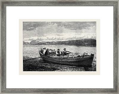 The Ferry Boat 1873 Framed Print by Richardson, John Isaac (1836-1913), British