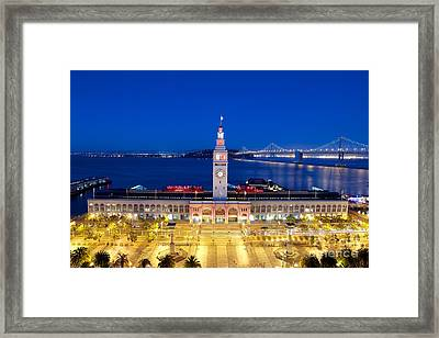 The Ferry Building In Downtown San Francisco Framed Print by Mel Ashar
