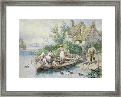 The Ferry Framed Print by Myles Birket Foster