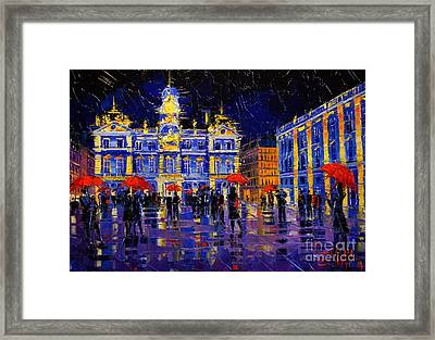 The Festival Of Lights In Lyon France Framed Print by Mona Edulesco