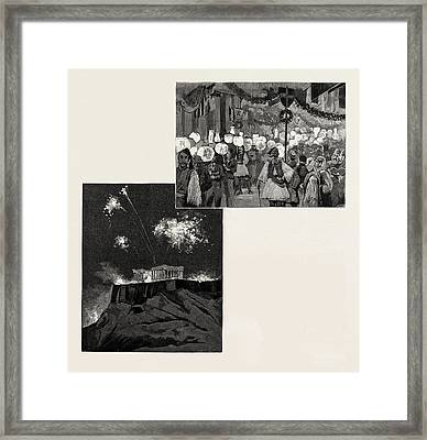 The Festivities In Honour Of The Greek Royal Wedding Framed Print by Litz Collection