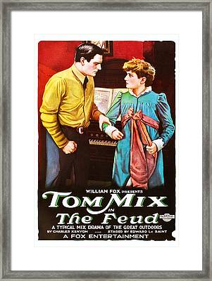 The Feud, From Left Tom Mix, Eva Novak Framed Print by Everett