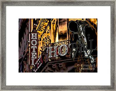Framed Print featuring the digital art The Fiddler In The Hotel by Mojo Mendiola