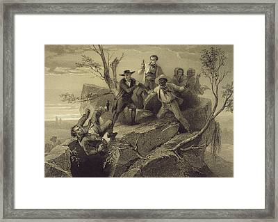 The Fight Between George And Tom Loker Framed Print by Adolphe Jean-Baptiste Bayot