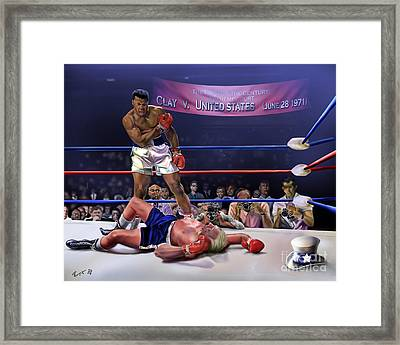 The Fight Of The Century - June 28 1971 C-vs-us Framed Print by Reggie Duffie