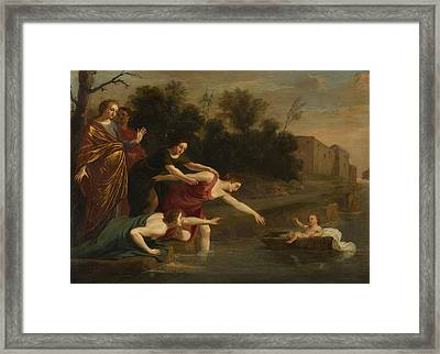 Framed Print featuring the painting The Finding Of Moses   by Jacques Stella