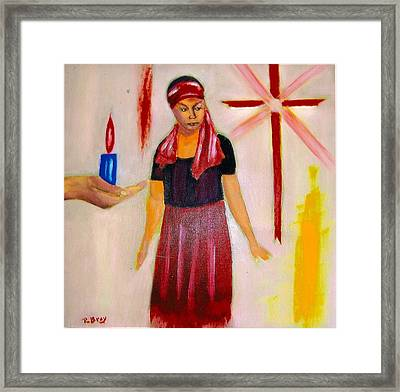 The Fire And The Cross Framed Print