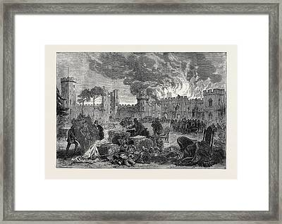 The Fire At Warwick Castle 1871 Framed Print