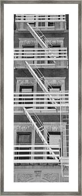 The Fire Escape In Black And White Framed Print by Rob Hans