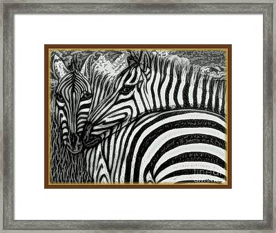 The Fire Ignited From Within In Black And White With Enhancement And Border Framed Print