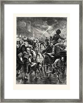 The Fire Season At Hong Kong Officers Of The Brigade Coming Framed Print by English School