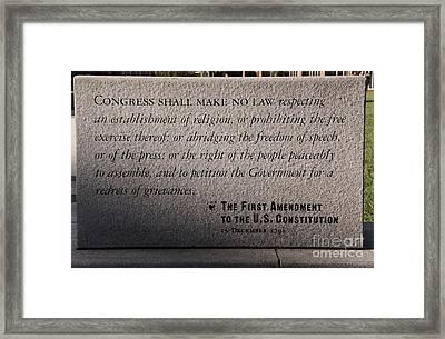 The First Amendment Framed Print by Gayle Johnson