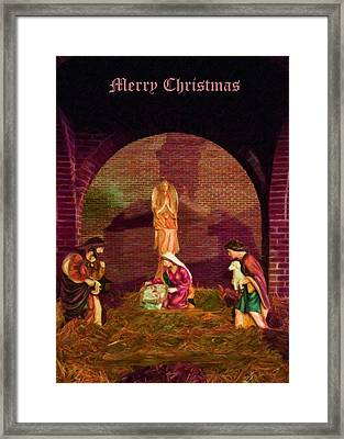 The First Christmas - Greeting Card Framed Print by Chris Flees