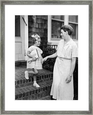 The First Day Of School Framed Print by Underwood Archives