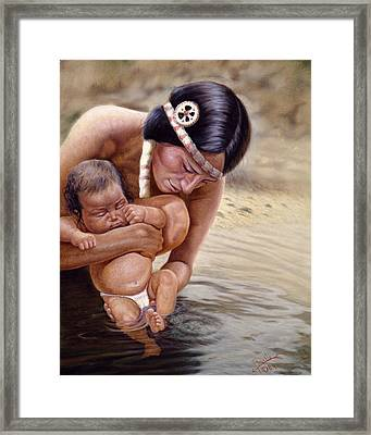 The First Dip Framed Print by Gregory Perillo